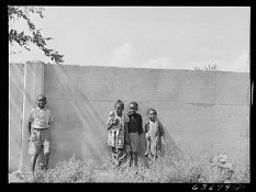 Children by wall